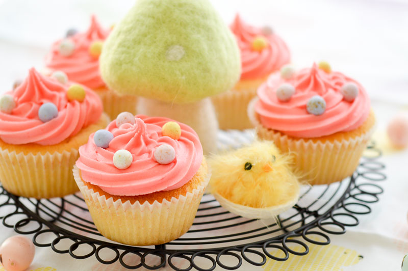 Easter Vanilla Surprise Cupcakes - Crumbs of a Foodie